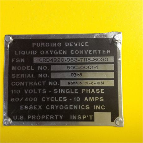 PURGING DEVICE, LIQUID OXYGEN CONVERTER, NS/NOS, FACTORY PACKED