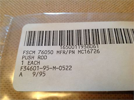 PUSH ROD, FOR KC-135 / B-707 AIRCRAFT, NS/NOS, FACTORY PACKED